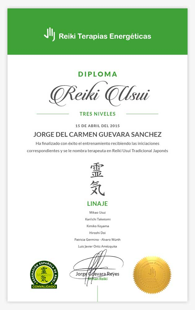 Diploma Reiki Usui